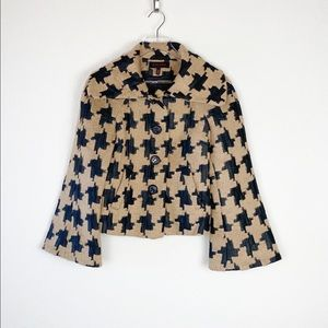 Escada Patterned Wool Blazer With Bell Sleeves